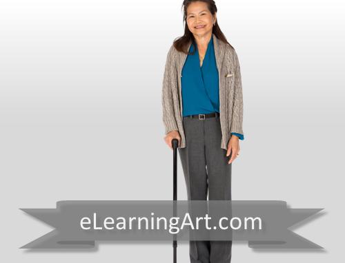 Karen - Asian Woman with Cane
