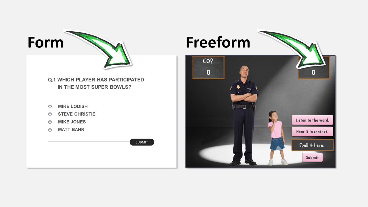 form vs freeform quiz example