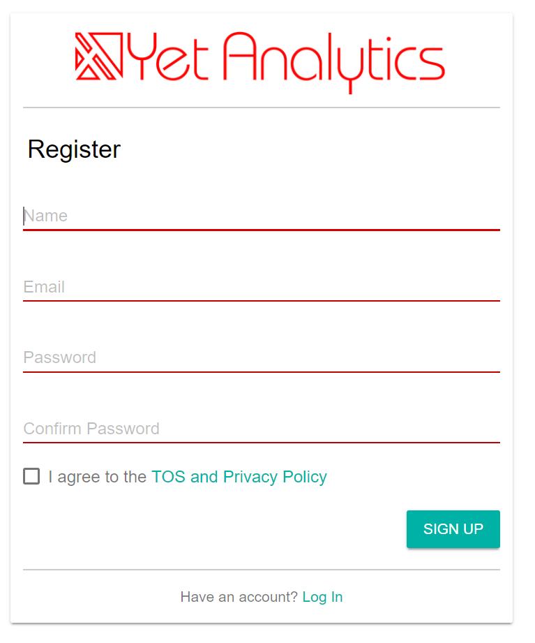 Yet Analytics Registration