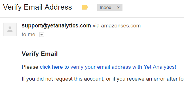 YetAnalytics Verify Email