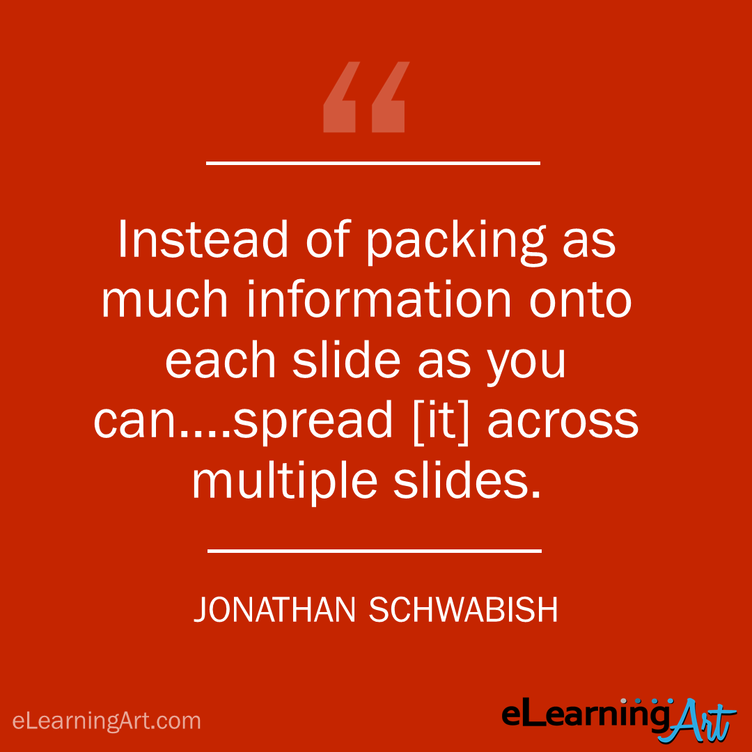 elearning quote - jonathan schwabish: Instead of packing as much information onto each slide as you can….spread [it] across multiple slides.