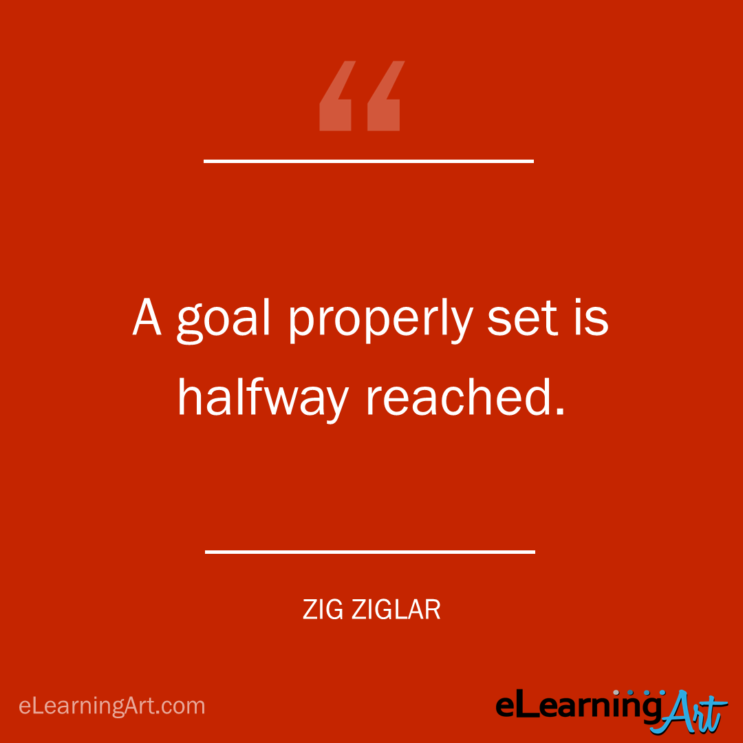 project management quote - zig ziglar: A goal properly set is halfway reached.