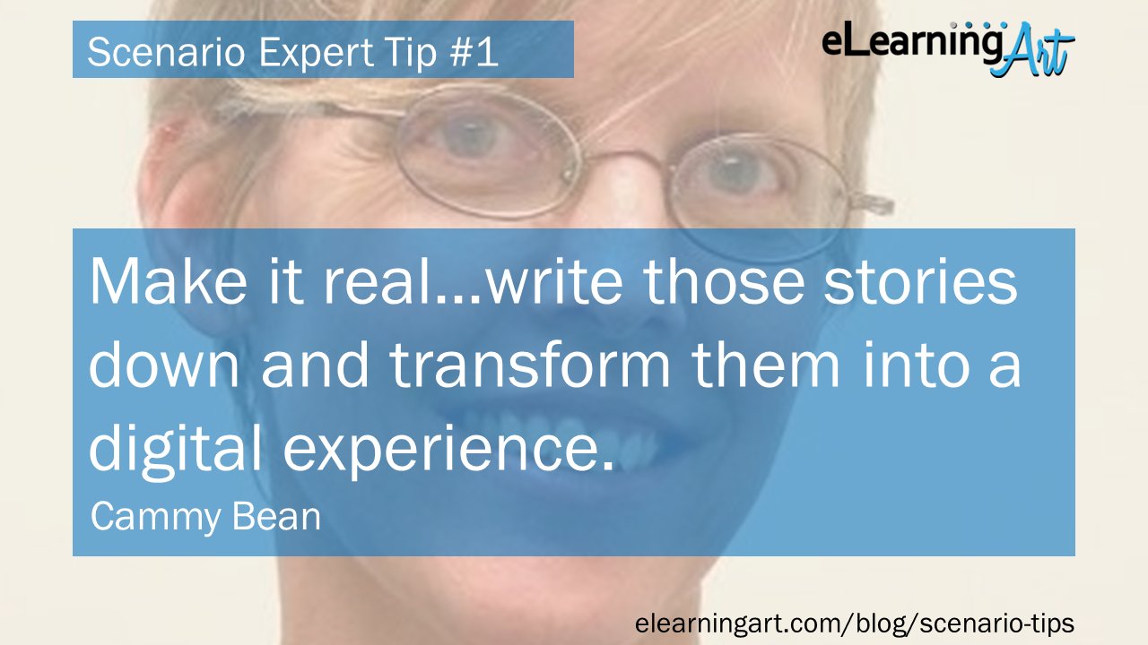 eLearning Scenario Tip from Cammy Bean: text