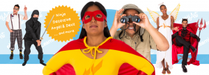 Costume eLearning Characters - Cut Out People as super heroes, safari guides, ninjas, angels, devils, nerds, and more