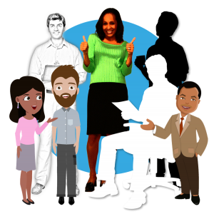 Illustrated eLearning Characters - Illustrated, Cartoon, and Stylized Cut Outs