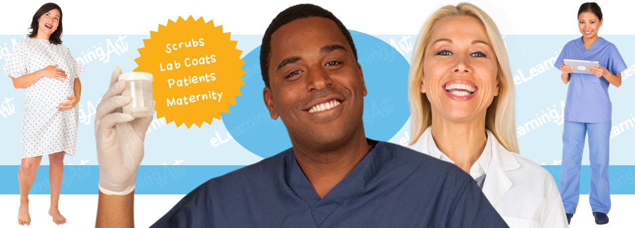 Medical eLearning Characters - Healthcare Cut Out People in Lab Coats, Scrubs, and Patient Gowns