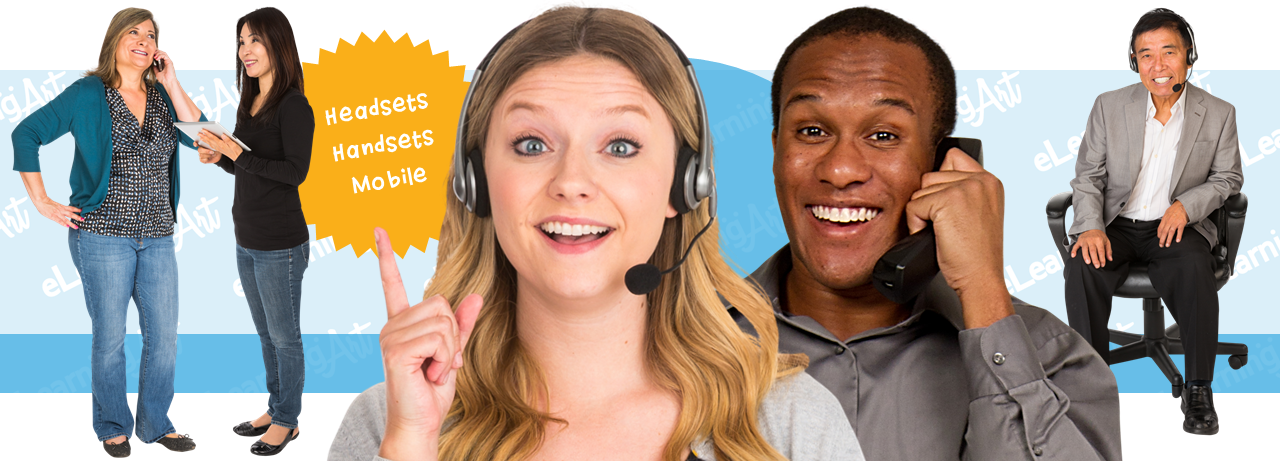 Phone eLearning Characters - Cut Out People for Sales and Customer Service Training