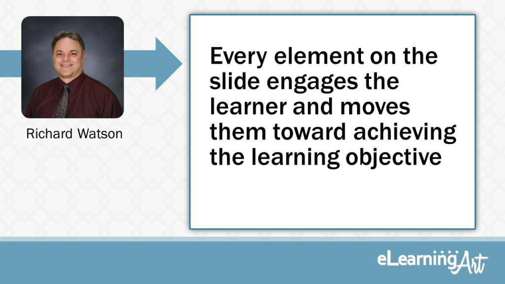 eLearning Slide Design Tip byRichard Watson - Every element on the slide engages the learner and moves them towards achieving the learning objective