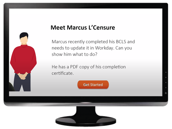 Example using characters in eLearning software training