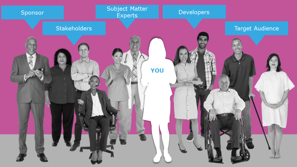 eLearning Stakeholders - Sponsors, Subject Matter Experts (SMEs), developer, and audience